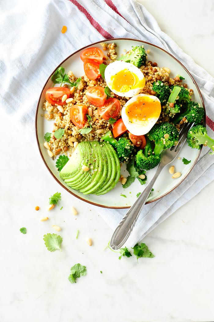 serving dumplings | Quinoa salad with broccoli and lentils