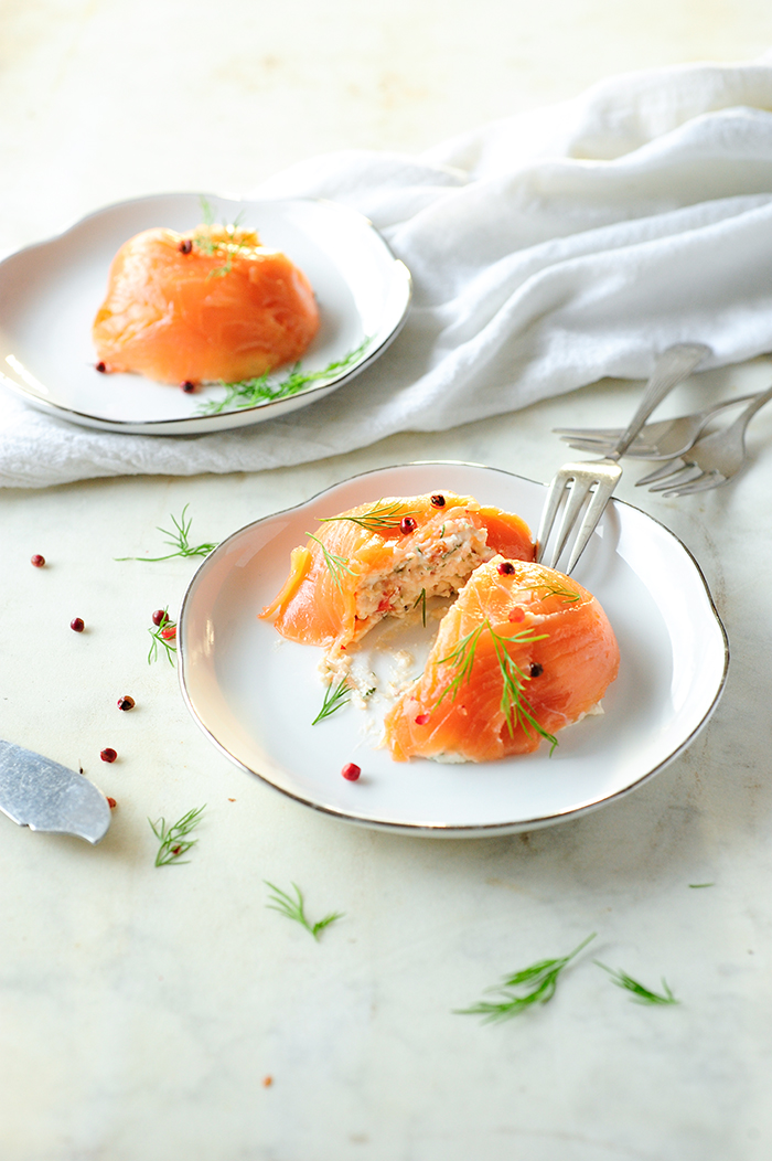 serving dumplings | Zalmmousse met cottage cheese
