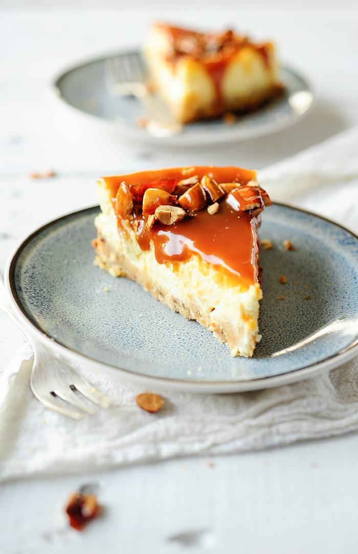 serving dumplings | Caramel almond cheesecake