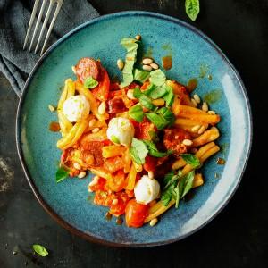 Makaron z chorizo w sosie paprykowym