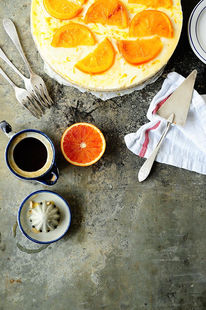 serving dumplings | Orange cheesecake with blood orange sauce