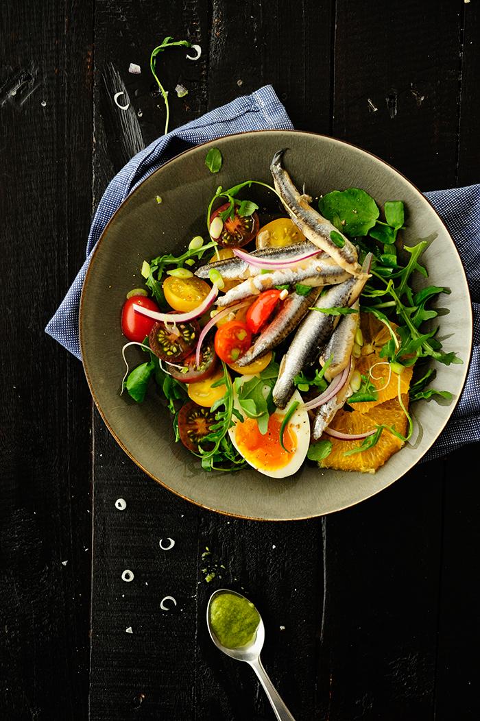 serving dumplings   Salade met ansjovis en sinaasappels