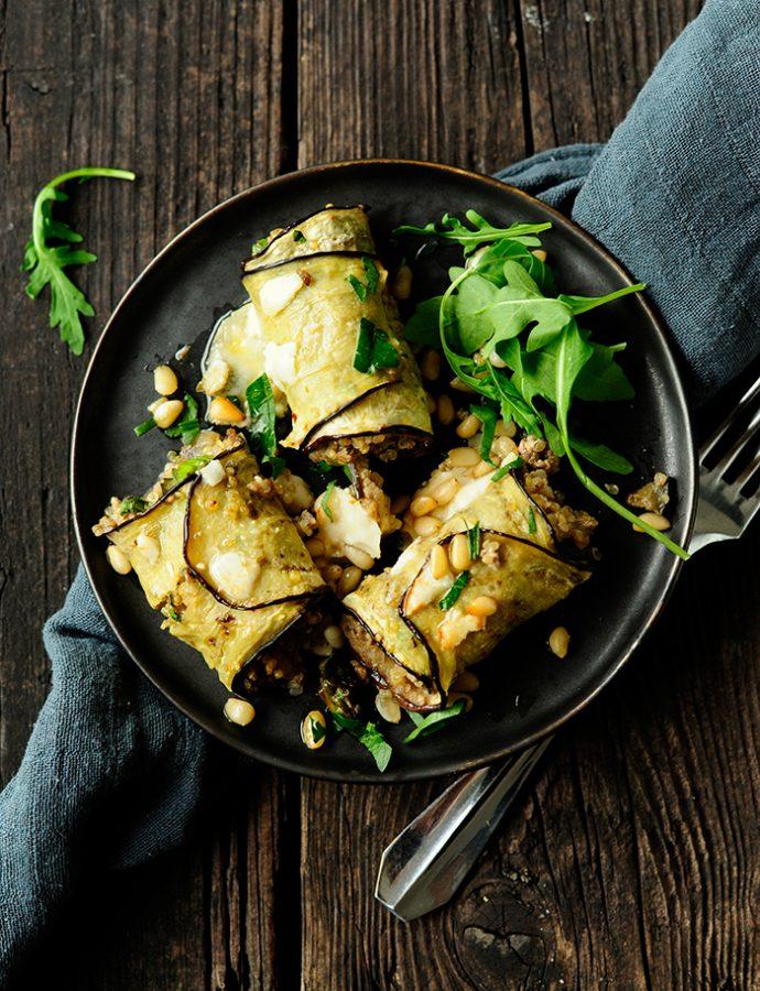 Auberginerolletjes met asperges en quinoa