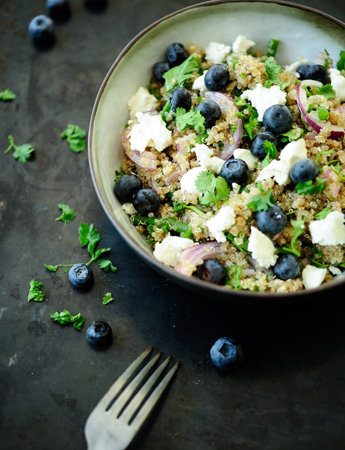 Blueberry quinoa with sheep cheese