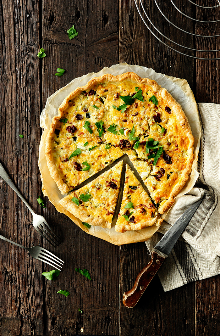 serving dumplings | Quiche with bacon, zucchini and cranberries