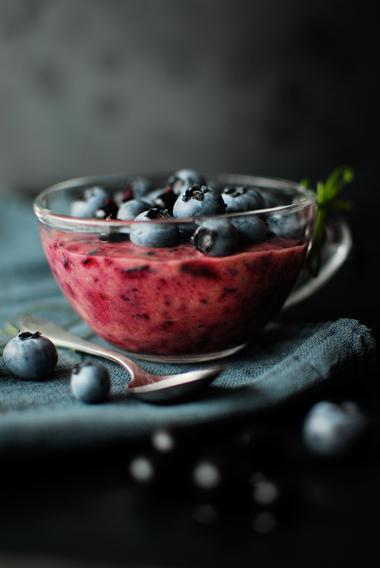 serving dumplings | Blueberry avocado mousse