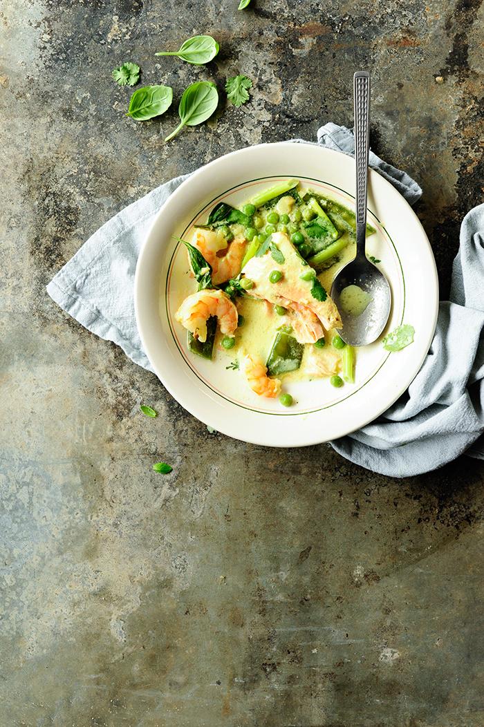 serving dumplinga | Coconut shrimp soup with salmon