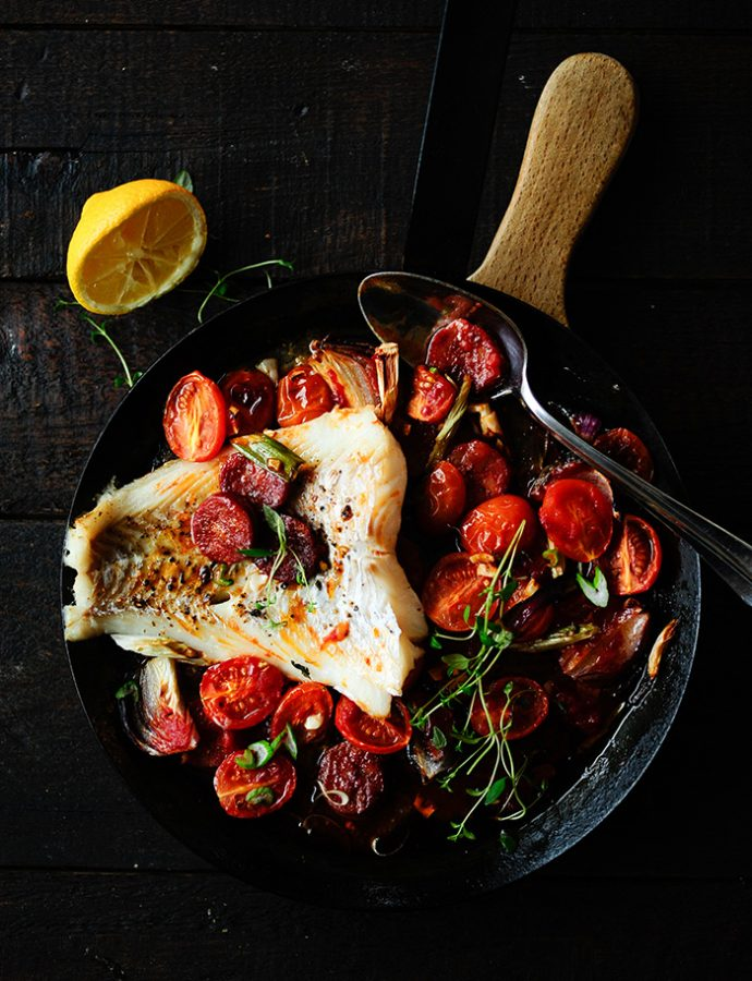 Baked cod with chorizo and cherry tomatoes