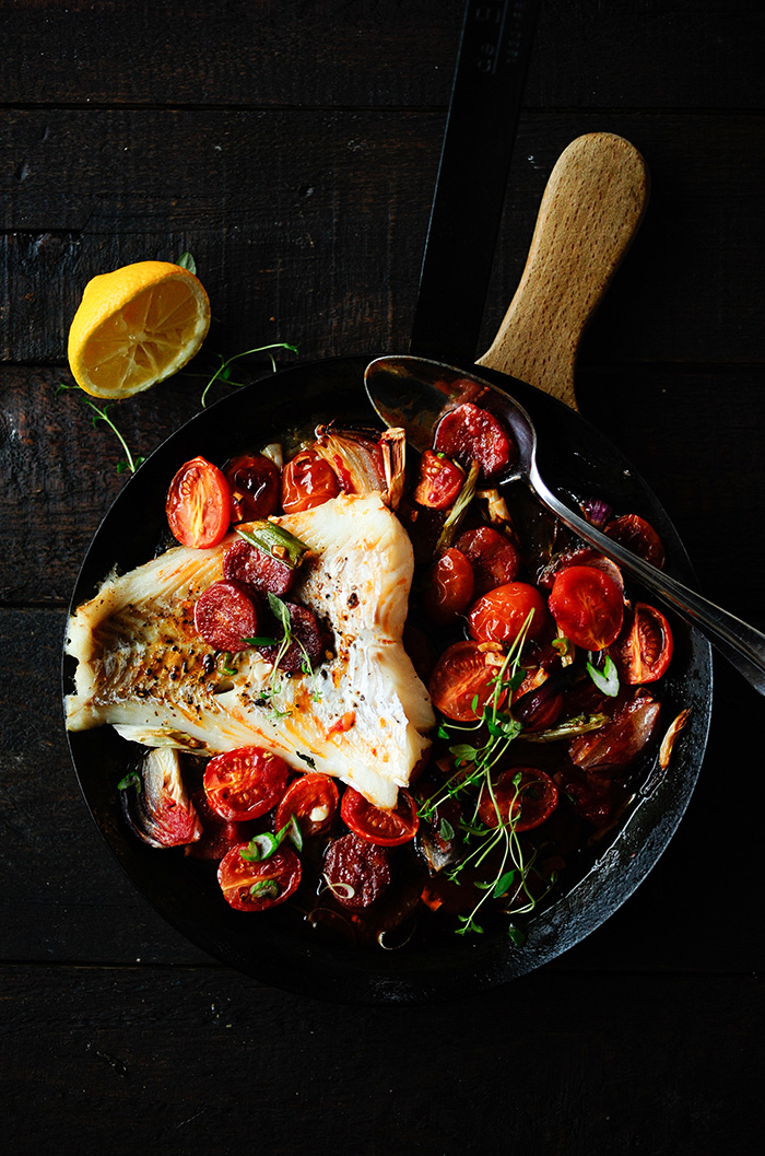 serving dumplings | Baked cod with chorizo and cherry tomatoes