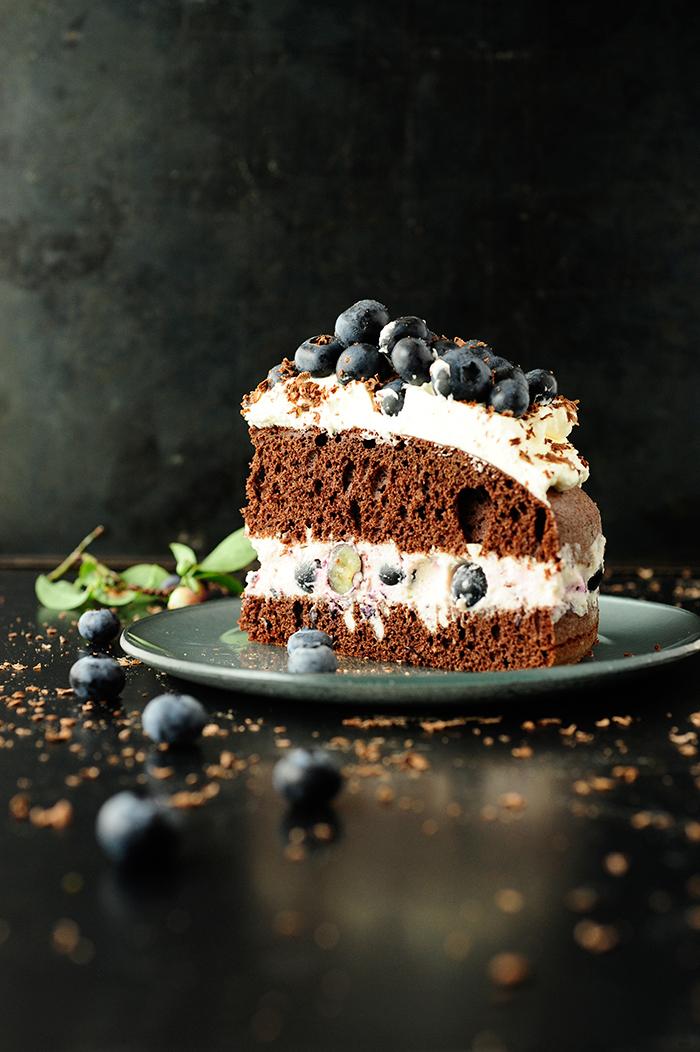 serving dumplings   Blueberry chocolate cake
