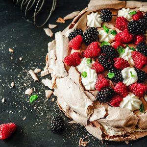 Chocolate pavlova with buttermilk cream