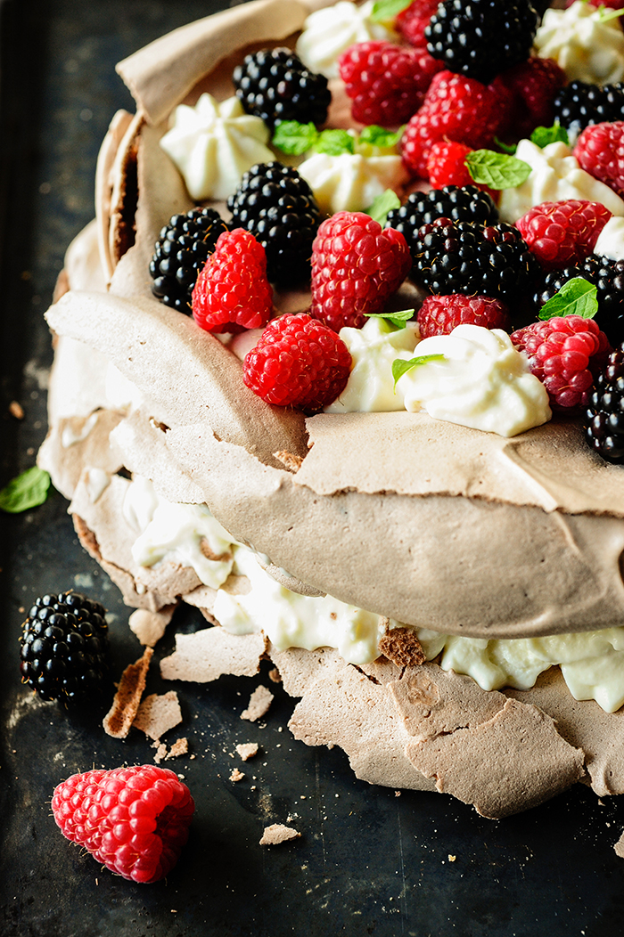 serving dmplings | Chocolate pavlova with buttermilk cream