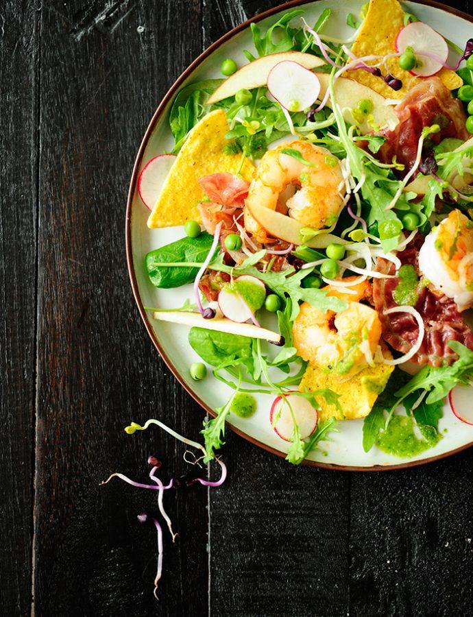Salade met scampi's en spinazievinaigrette
