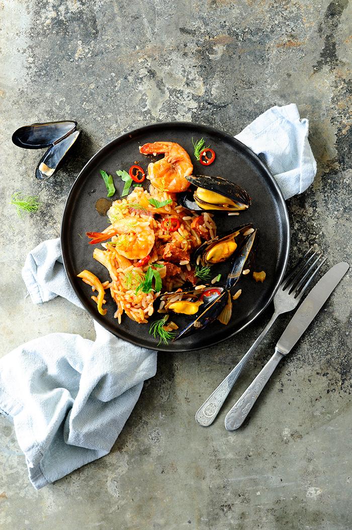 serving dumplings | Seafood jambalaya