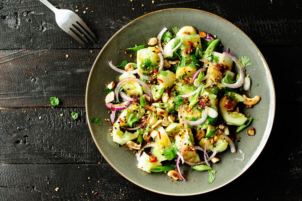 serving dumplings | Smashed cucumber salad