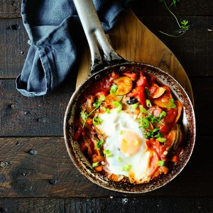 Vegetables stew with eggs
