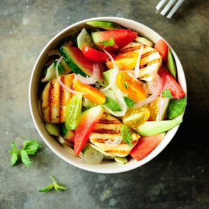 Watermelon salad with grilled halloumi2