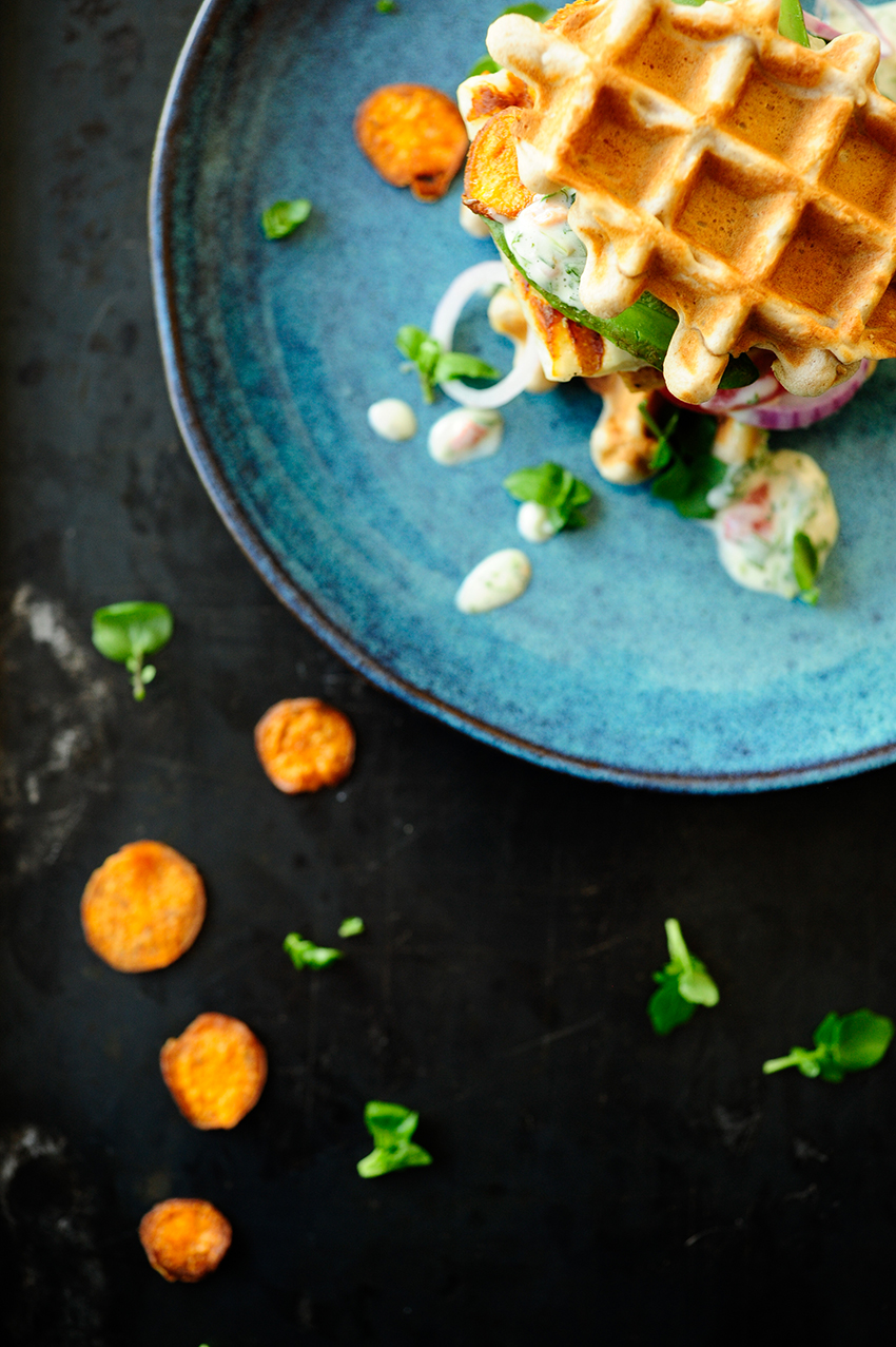 serving dumplings | buckwheat-waffles-with-halloumi-and-chimichurri