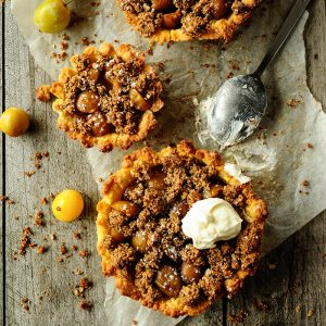Mirabelle tarts with quinoa crumble
