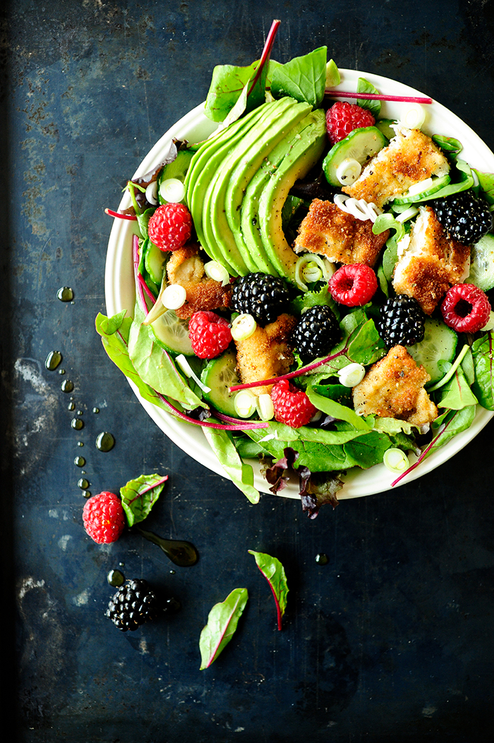 serving dumplings | salade-met-kip-en-fruit