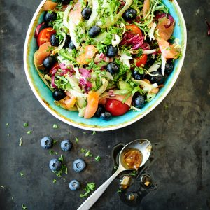 Smoked salmon salad with blueberry vinaigrette