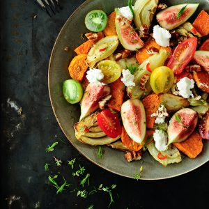 Roasted sweet potatoes salad with fennel