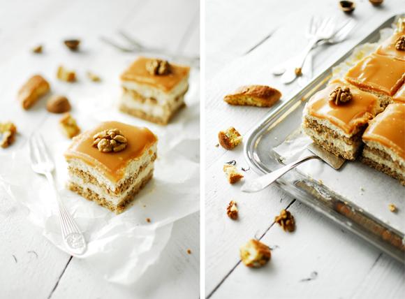 serving dumplings | cheesecake-bites-met-walnoten-en-karamel