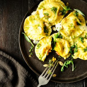 Roasted pumpkin ravioli with sage pesto