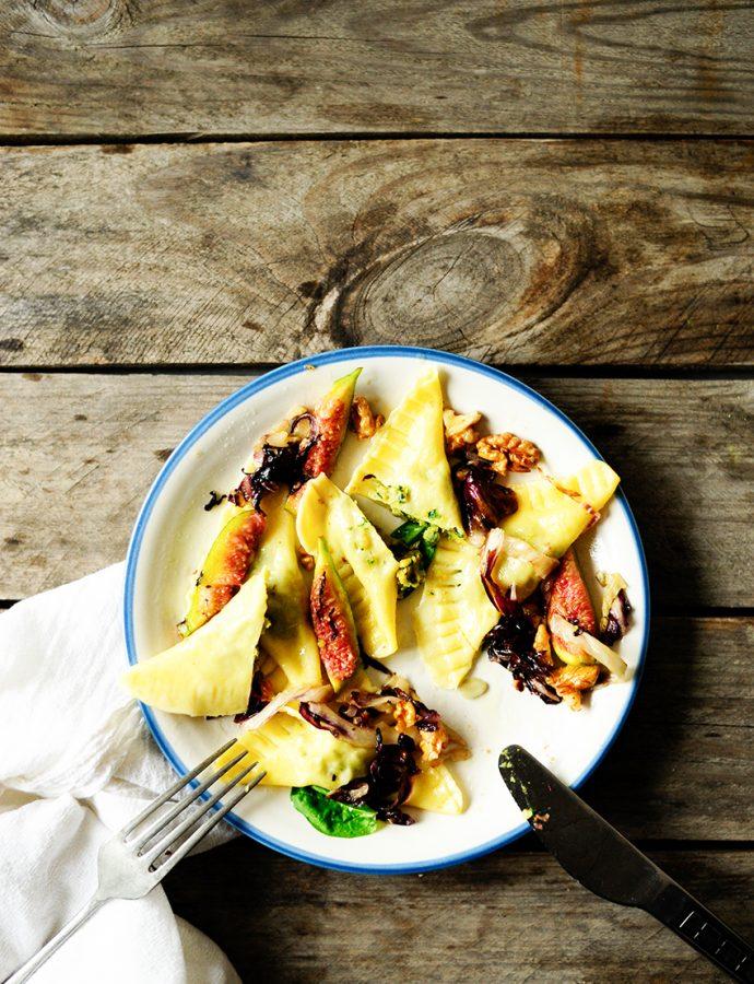 Ravioli met spinazie en kikkererwten