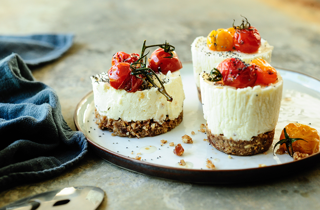 Goat Cheese Cheesecake savory goat cheese and roasted tomatoes mini cheesecakes | recipes