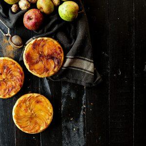 Upside-down apple cakes