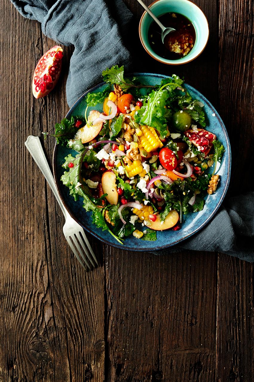 serving dumplings | very-juicy-kale-salad-with-plums