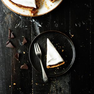 Chocolate pumpkin pie with coconut whipped cream