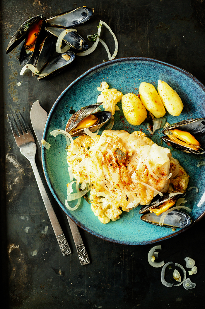 serving dumplings |cod-with-mussels-and-roasted-cauliflower