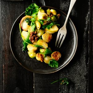 Garlicky brussels sprouts salad