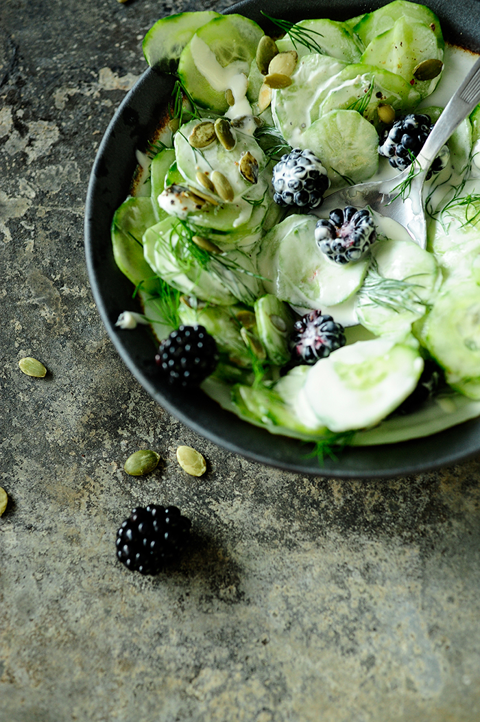 serving dumplings | perfect-cucumber-fall-salad