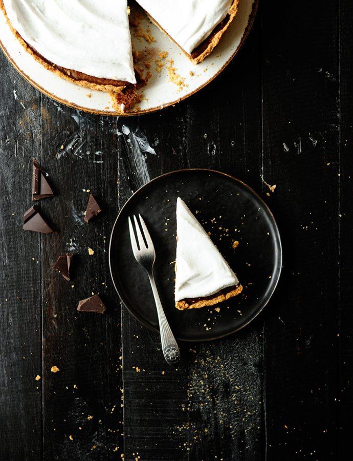 Pompoentaart met chocolade en kokosroom