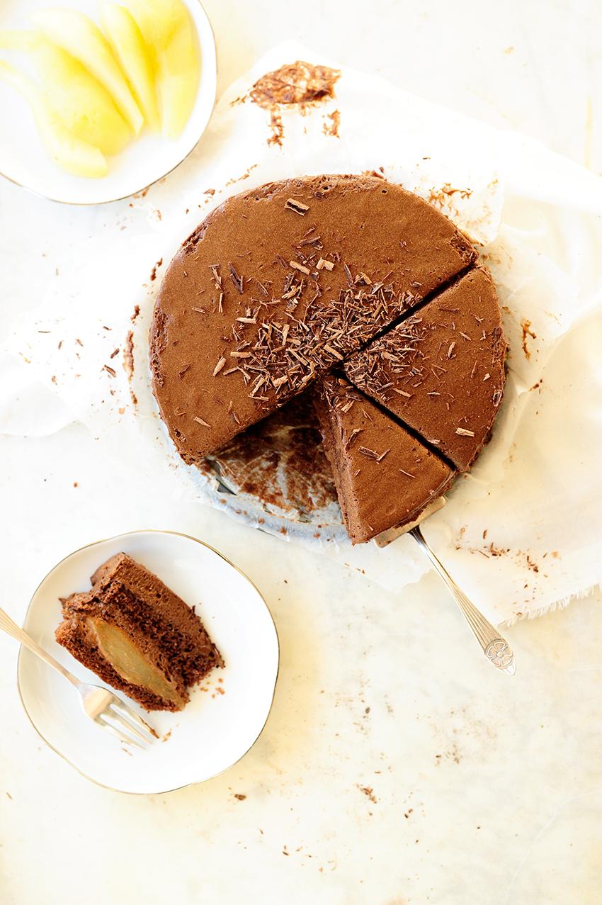 serving dumplings | chocolate-mousse-pear-cake