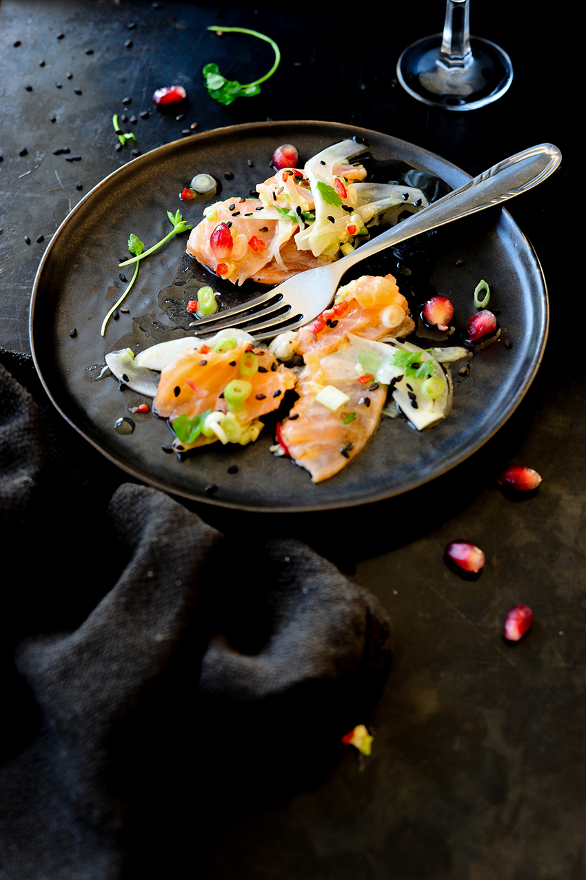 serving dumplings | oriental-salmon-ceviche