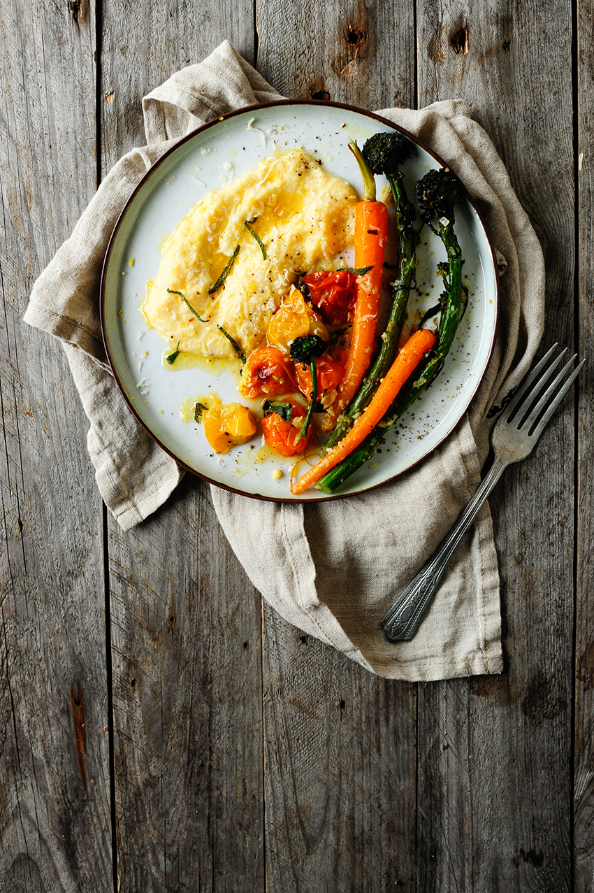 serving dumplings | Creamy Parmesan polenta with roasted vegetables