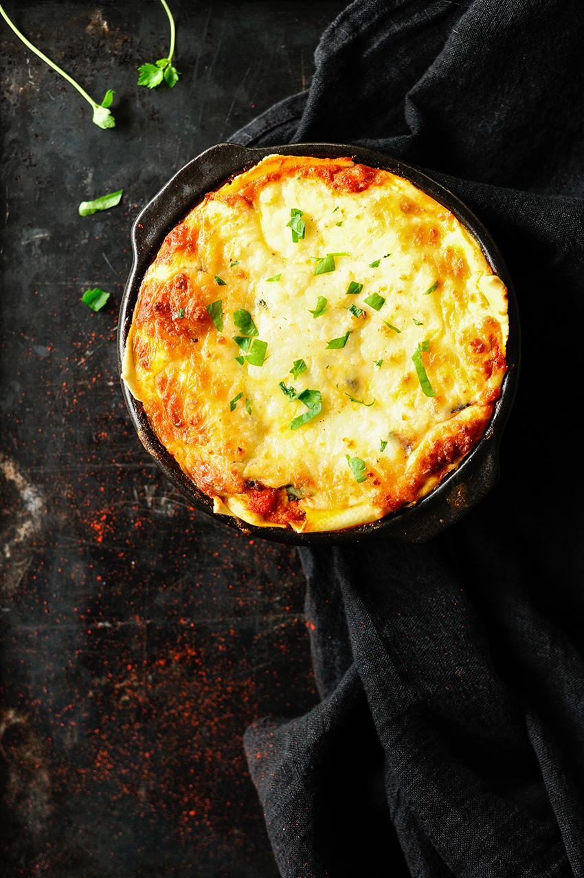 serving dumplings | lasagne-met-drie-kazen-en-aubergine