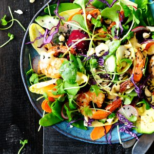 Rainbow shrimp salad with tahini dressing