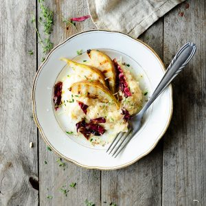 Goats cheese risotto with pear and radicchio