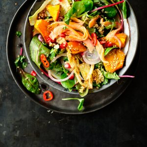 Asian grilled pumpkin fennel and smoked salmon salad