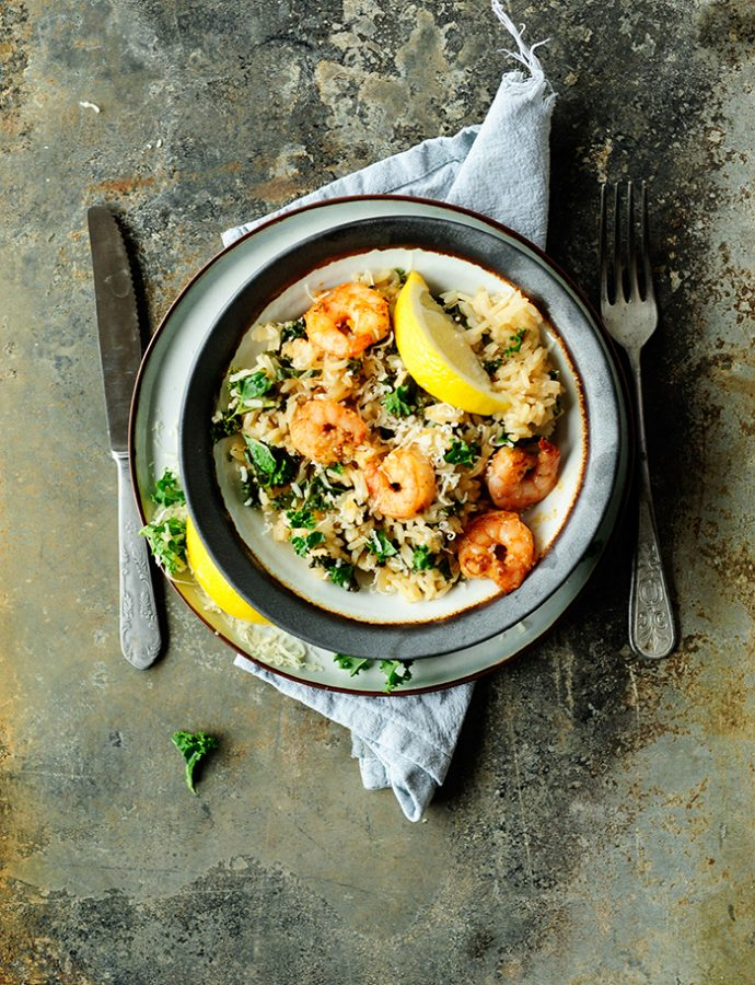 Kale risotto with shrimps