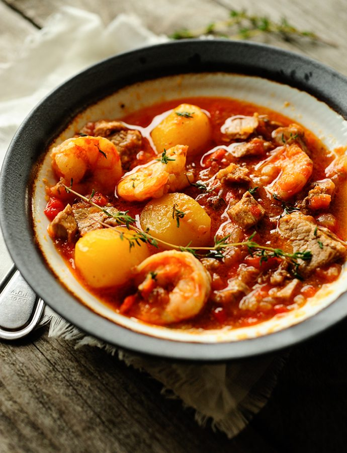 Meat and shrimp stew
