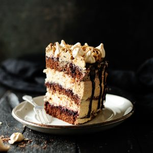 Chocolate meringue cake with coffee Swiss meringue buttercream