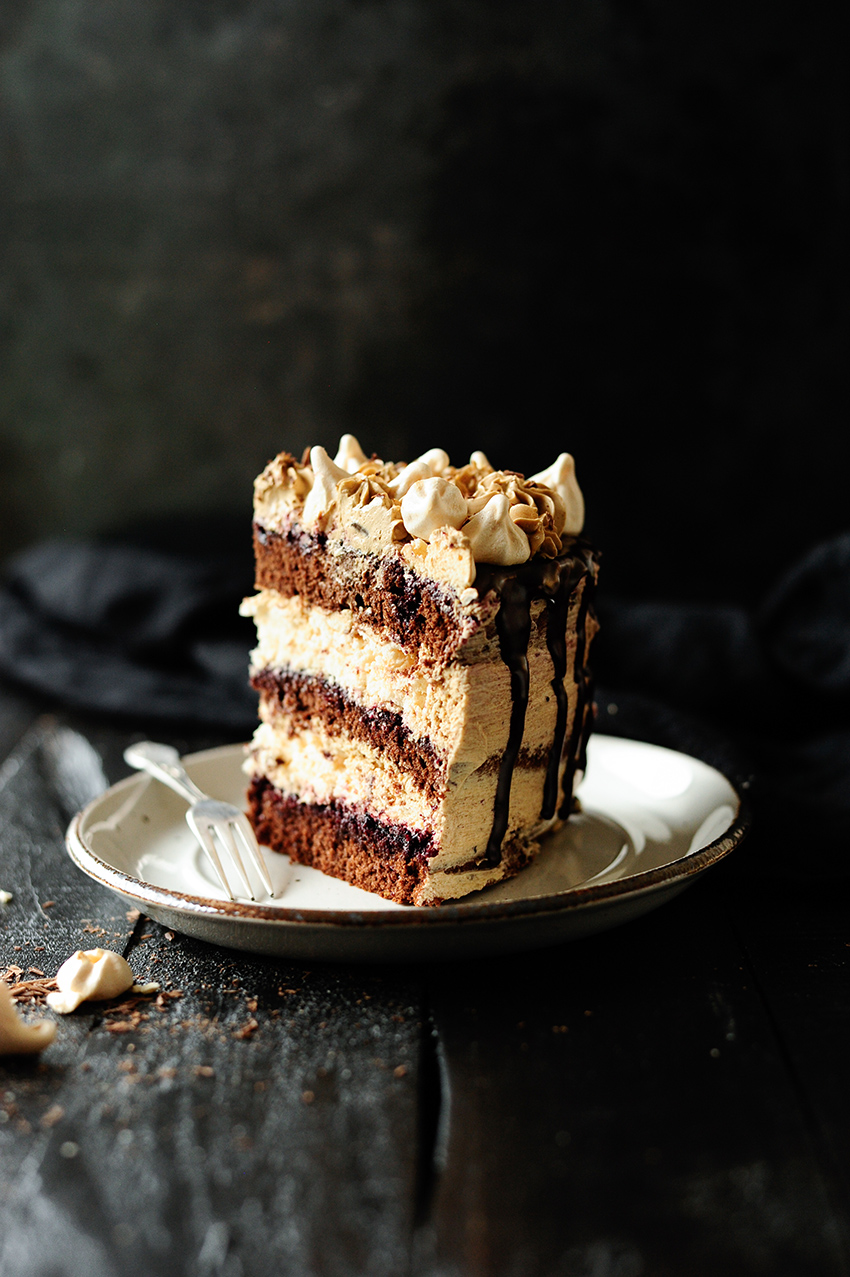 serving dumplings | Chocolate meringue cake with coffee Swiss meringue buttercream