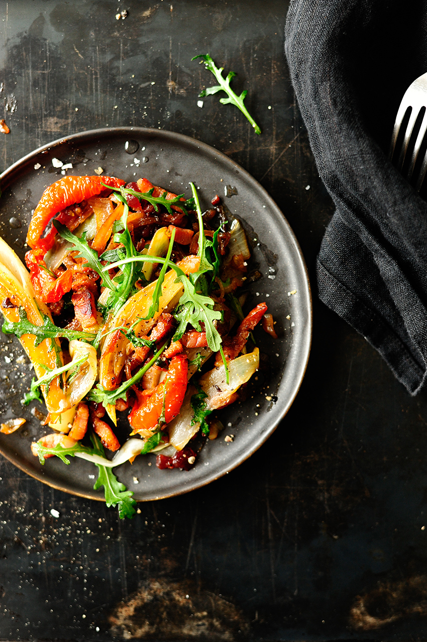 serving dumplings | Warm chicory salad with cranberry sauce