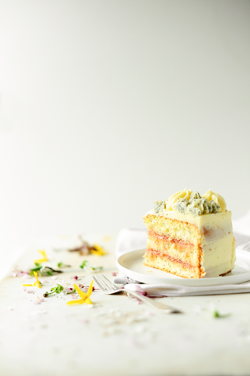 serving dumplings | Spring lemon poppy seed cake